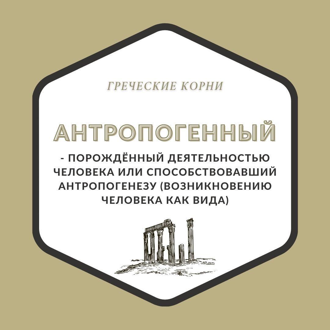 Термины с древнегреческим корнем антроп - Антропогенный
